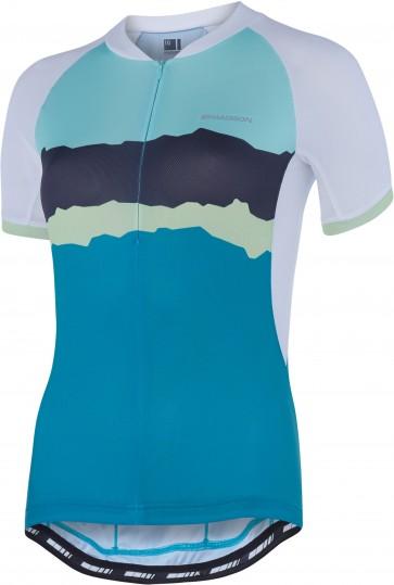 Madison Keirin women's short sleeve jersey, white / peacock blue torn stripes