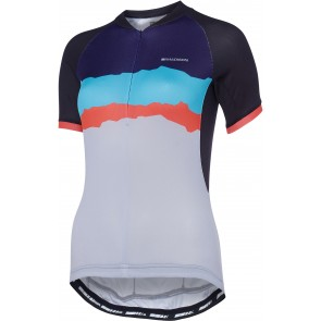 Madison Keirin women's short sleeve jersey, black / cloud grey torn stripes