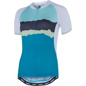 Madison Keirin women's short sleeve jersey, white / peacock blue torn stripes